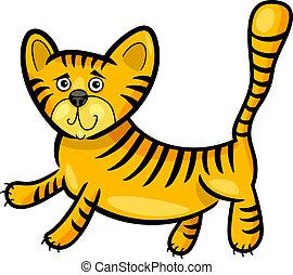 tiger, pequeno, caricatura, ilustração
