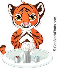 tiger, pequeno, mãos lavando