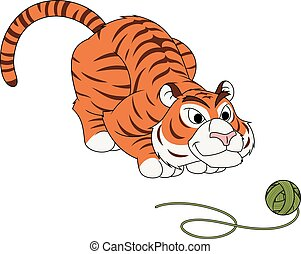 Tiger play with ball of thread