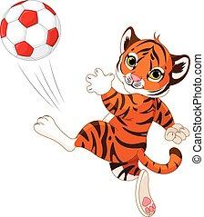 tiger, poco, palla, colpire