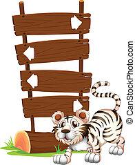tiger, position, springende
