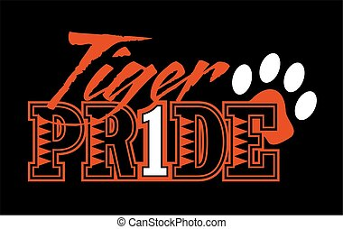 tiger pride design with paw print for school, college or...