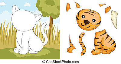 Tiger puzzle - A vector illustration of a tiger puzzle