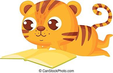 Tiger reading book on white background. Vector illustration.
