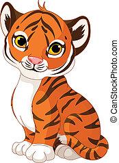 tiger, reizend, junge