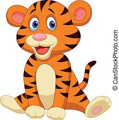 tiger, reizend, karikatur