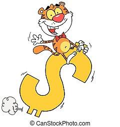 Tiger Riding On A Dollar Symbol