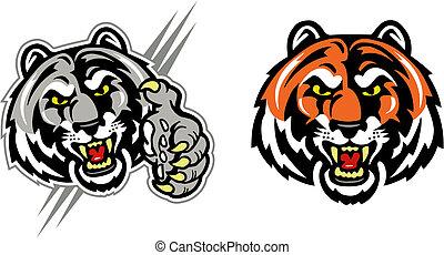 tiger, ringhiare, faccia, artiglio