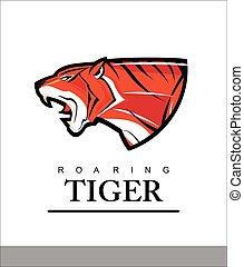 Tiger. Roaring Predator. Roaring Tiger. Elegant tiger head combine with text.