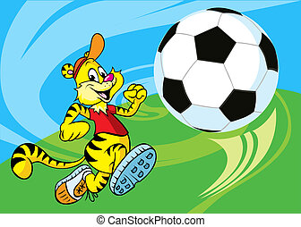 Tiger runs a soccer ball