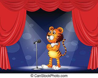 tiger, rusztowanie