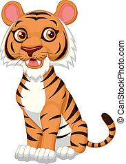 tiger, rysunek, sprytny