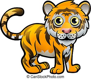Tiger Safari Animals Cartoon Character