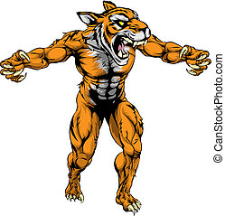 Tiger scary sports mascot