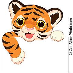 tiger, schattig, leeg, spotprent, meldingsbord