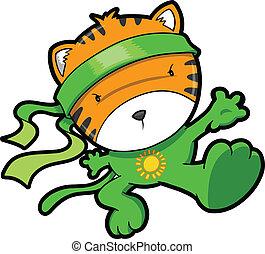 tiger, schattig, vector, welp, ninja