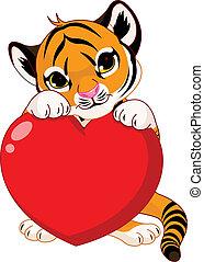 tiger, schattig, welp, vasthouden, hart