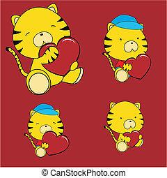 tiger, serce, komplet, valentine