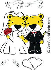 tiger, set, spotprent, trouwfeest