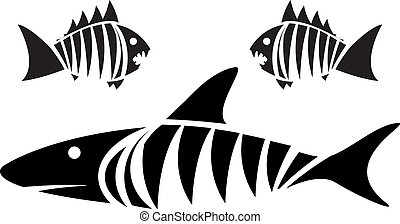 Tiger shark and piranhas