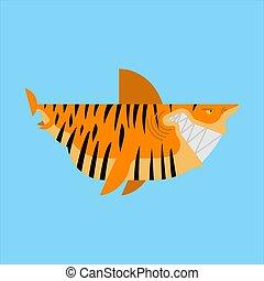 Tiger shark isolated. Sea animal predator. Vector ...