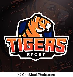 Tiger shield sport mascot template. Premade football, basketball or baseball patch design. College league insignia, High school team vector