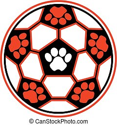 tiger soccer ball with paw prints for school, college or...