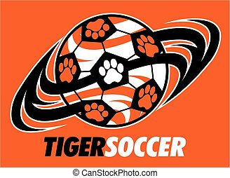 tiger soccer team design with paw prints for school, college...