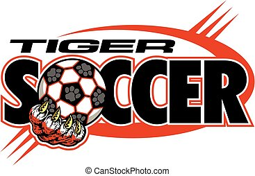 tiger soccer team design with large claw holding ball for...