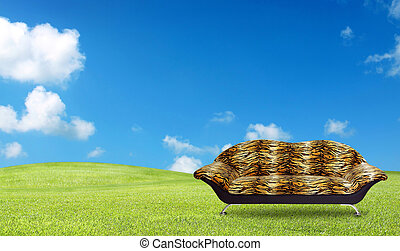 tiger sofa on the grass field