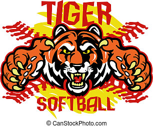 tiger softball design with tiger mascot and red stitches in front of yellow softball