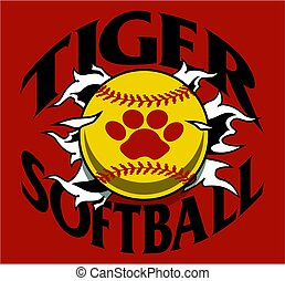 tiger softball team design with ball and paw print ripping...