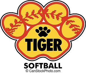 tiger softball team design with paw print and red stitches