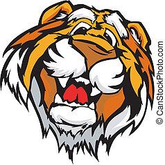 tiger, sorridente, vettore, cartone animato, mascotte
