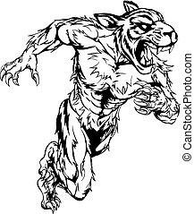 Tiger sports mascot running