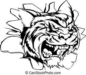 Tiger sports mascot smashing out