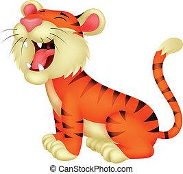 tiger, spotprent, gebrul