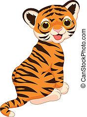 tiger, sprytny, rysunek