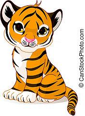 tiger, sprytny, szczeniak