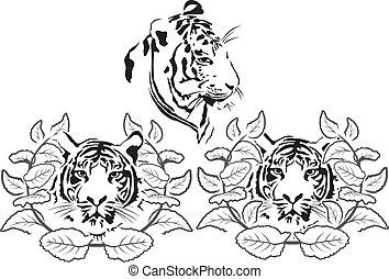 tiger stencil set - Illustration