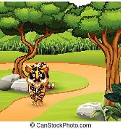 tiger, straszliwy, pieszy, dziki, dżungla