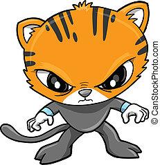 tiger, strijder, vector, illustratie