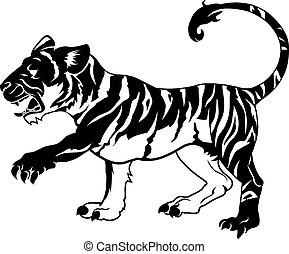 tiger, stylised, illustratie
