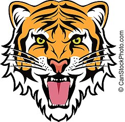 tiger, stylized, boos, vector, gezicht