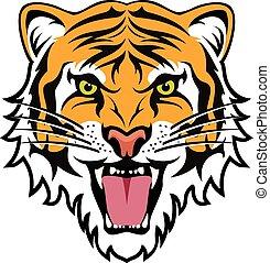 tiger, stylized, boos, vector, gezicht