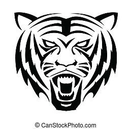 tiger, symbol, ansikte