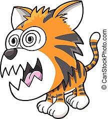 tiger, szalony, wektor, pomylony