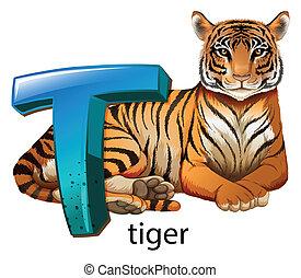tiger, t, letra