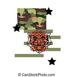 Tiger t shirt design vector illustration on camo background.