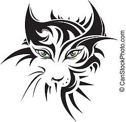 tiger, tatoeëren, abstract, stijl